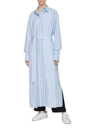 Figure View - Click To Enlarge - THE KEIJI - Detachable panel belted stripe shirt dress
