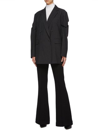 Figure View - Click To Enlarge - THE KEIJI - Lattice sleeve oversized pinstripe blazer