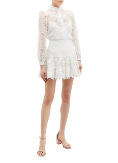 Zimmermann 'Corsage' ruffle yoke high neck guipure lace blouse