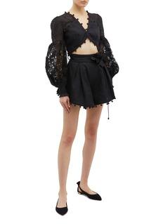 Zimmermann 'Corsage' floral belted pompom border shorts