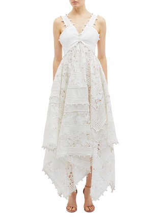 2ad7c30e01 Zimmermann  Corsage  guipure lace panel dot embroidered handkerchief midi  dress