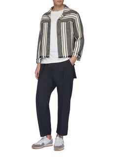 KURO Chest pocket fringed hem stripe herringbone shirt