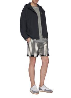 KURO Fringe cuff stripe herringbone shorts