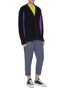 kolor Colourblock mesh sleeve panel cardigan