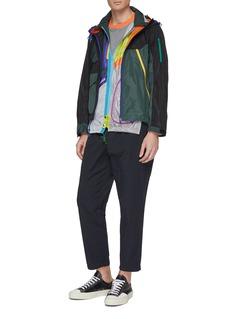 kolor Colourblock patchwork layered hooded jacket