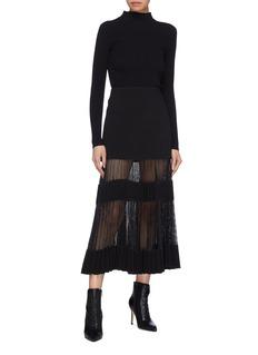 Dion Lee Pleated mesh panel bonded crepe skirt