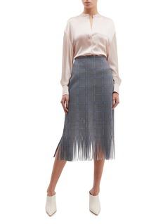Dion Lee Lasercut fringe houndstooth check plaid skirt