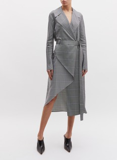 Dion Lee Belted folded houndstooth check plaid wrap trench dress