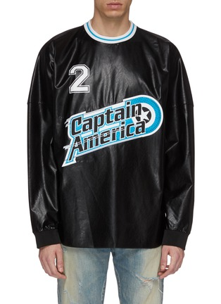 Main View - Click To Enlarge - FAITH CONNEXION - x Marvel 'Captain America' slogan graphic patch faux leather top