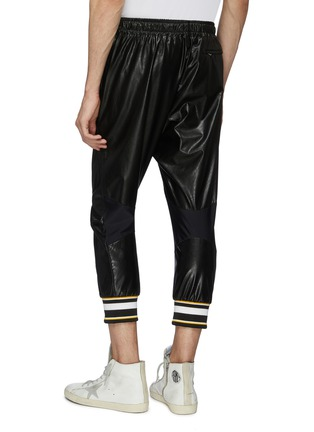 Back View - Click To Enlarge - FAITH CONNEXION - Stripe cuff faux leather cropped jogging pants