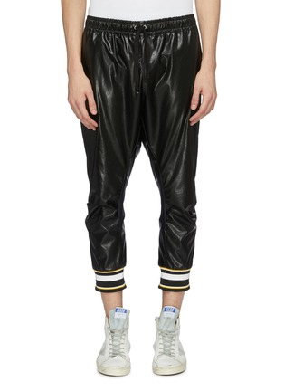 Main View - Click To Enlarge - FAITH CONNEXION - Stripe cuff faux leather cropped jogging pants
