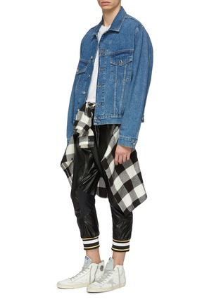 Figure View - Click To Enlarge - FAITH CONNEXION - Stripe cuff faux leather cropped jogging pants