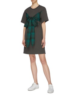 PORTSPURE Sash tie tartan check plaid panel T-shirt dress