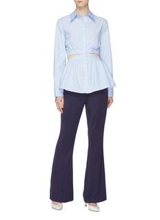 Maggie Marilyn 'Choose Your Direction' tie back cutout waist stripe peplum shirt