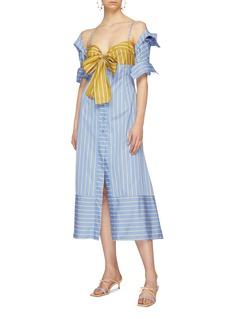 Silvia Tcherassi 'Silene' cutout bow bustier panel stripe shirt dress
