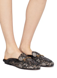 Sam Edelman 'Linnie' faux fur trim floral jacquard horsebit loafer slides