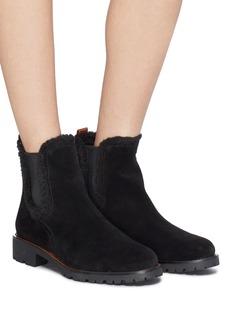 Sam Edelman 'Jaclyn' shearling trim suede Chelsea boots