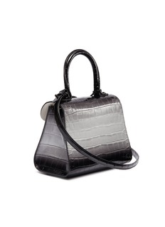 Delvaux 'Brillant Mini' ombré patent alligator leather satchel