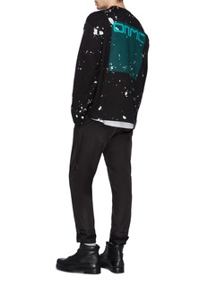 OAMC Logo grid print paint splatter sweatshirt