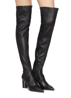 Pedder Red 'Hayden' thigh high panelled leather boots