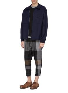 The Viridi-anne Belted tartan plaid zip cuff pleated linen pants