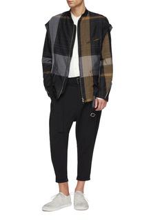 The Viridi-anne Buckled layered sleeve colourblock ramie jacket