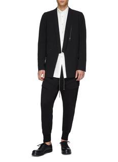 The Viridi-anne Shawl lapel zip pocket twill soft blazer
