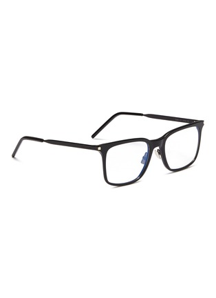 Figure View - Click To Enlarge - SAINT LAURENT - Metal temple acetate square optical glasses