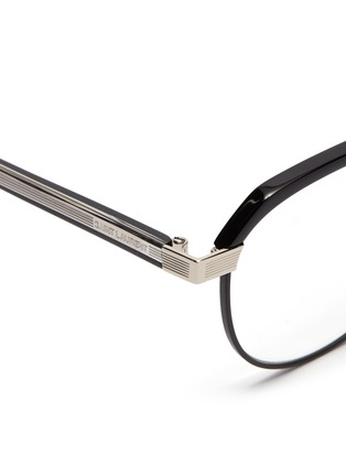 Detail View - Click To Enlarge - SAINT LAURENT - Metal rim acetate round optical glasses