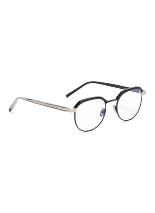 Figure View - Click To Enlarge - SAINT LAURENT - Metal rim acetate round optical glasses