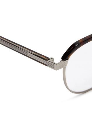 Detail View - Click To Enlarge - SAINT LAURENT - Metal rim tortoiseshell acetate round optical glasses