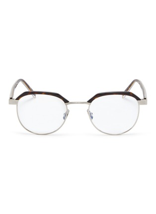 Main View - Click To Enlarge - SAINT LAURENT - Metal rim tortoiseshell acetate round optical glasses