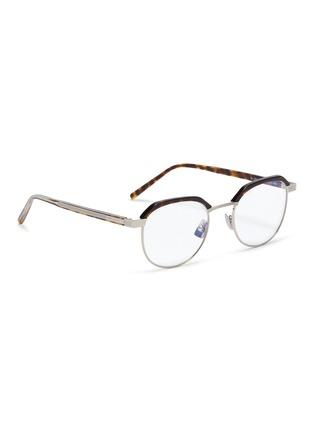 Figure View - Click To Enlarge - SAINT LAURENT - Metal rim tortoiseshell acetate round optical glasses