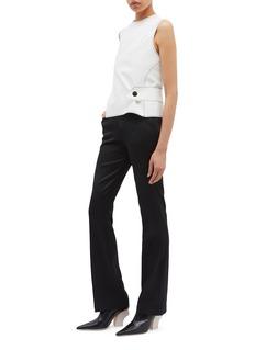 Thomas Puttick Cutout cross back button waist crepe sleeveless top