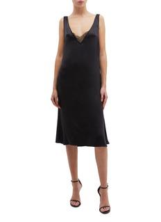 Thomas Puttick Chantilly lace panel silk V-neck slip dress