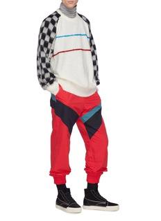FACETASM Star checkerboard sleeve stripe sweater