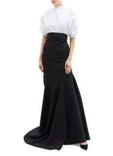 Maticevski 'Facet' ruched puff sleeve cropped poplin blouse