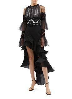 Maticevski 'Palos' plissé pleated ruffle high-low skirt