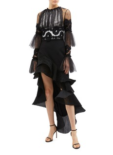 Maticevski 'Rumba' tiered flared sleeve web lace cropped top