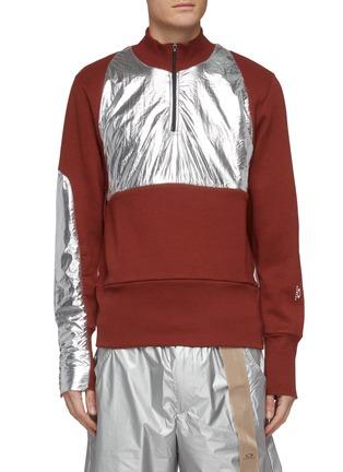 Main View - Click To Enlarge - OAKLEY BY SAMUEL ROSS - Metallic panel half-zip sweatshirt