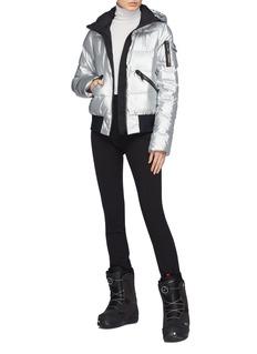 Goldbergh 'Diva' hooded metallic down puffer ski bomber jacket