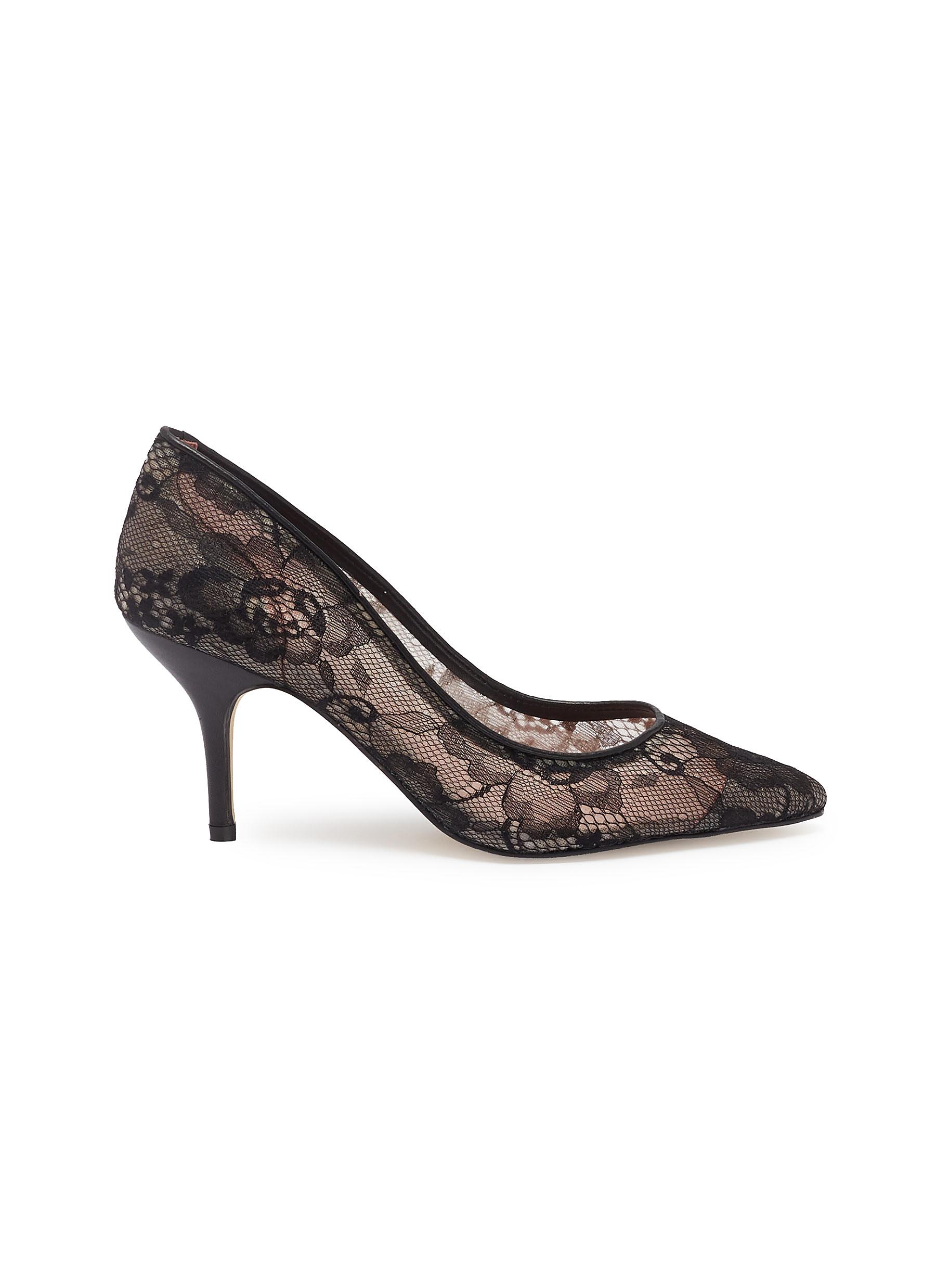 Sophia floral guipure lace pumps by Pedder Red