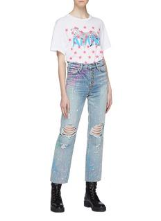 Amiri 'Graffiti' button front paint splatter ripped jeans
