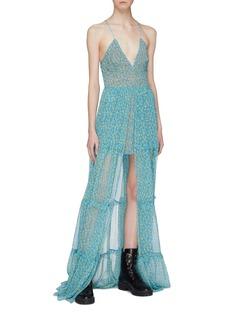 Amiri Split front floral print tiered silk camisole dress