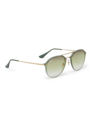 Figure View - Click To Enlarge - RAY-BAN - 'Blaze' acetate rim metal round sunglasses
