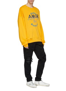 Amiri 'MX1' pleated leather patch camouflage print jeans