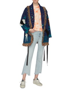 Alanui 'Horses In Love' belted fringe graphic jacquard oversized cashmere cardigan