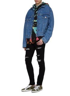 Amiri 'Sequin Zebra' patch ripped skinny jeans