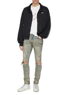 Amiri Logo print leather stripe sleeve track jacket