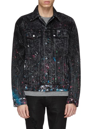 Main View - Click To Enlarge - Amiri - 'Graffiti' paint splatter denim trucker jacket
